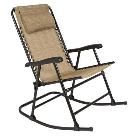 $65 Folding Rocking Chair Foldable Rocker Outdoor Patio Furniture Beige    Walmart.com