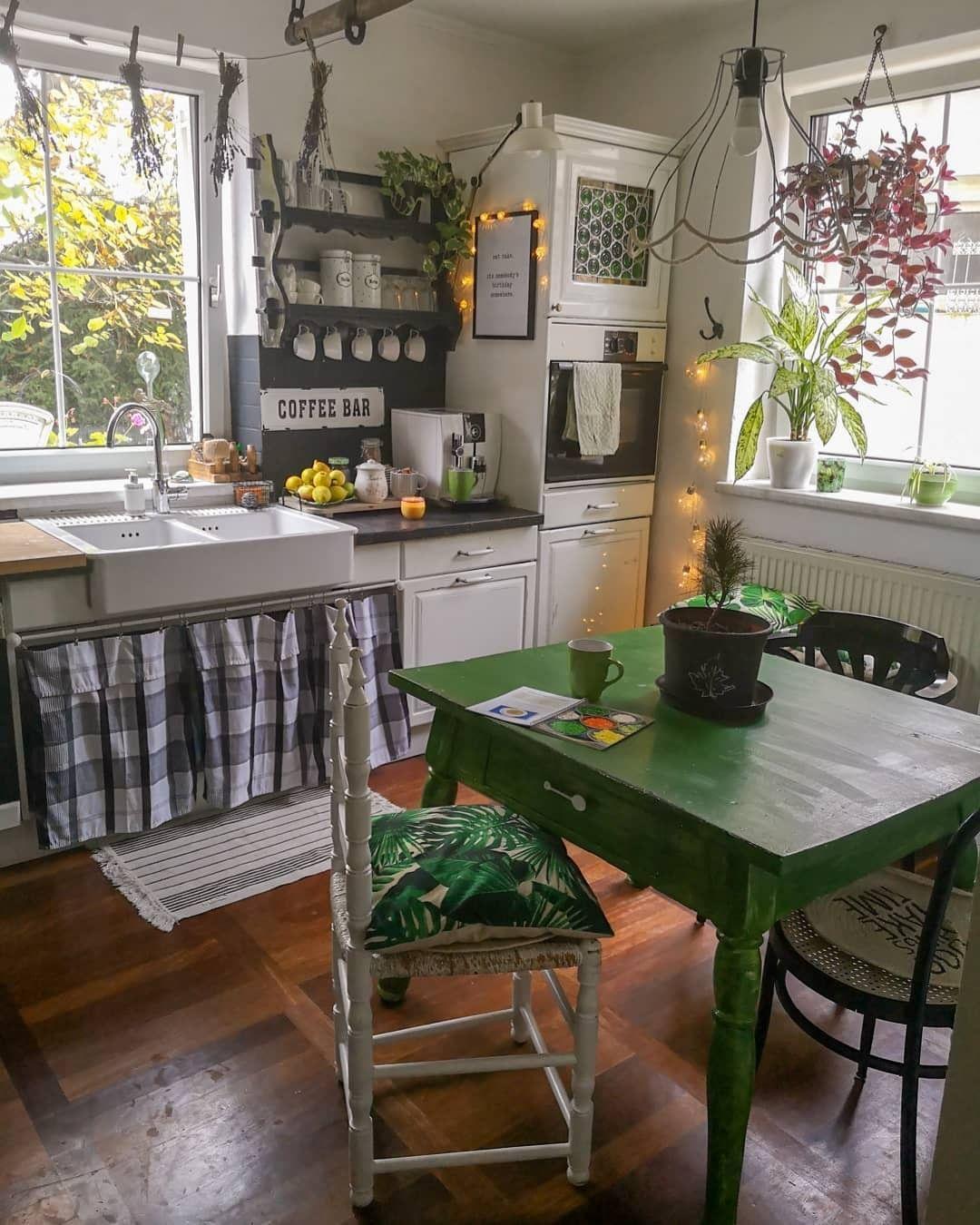 bohemian interior decor on instagram via bohemian decors what do you think of the green on kitchen interior boho id=86536