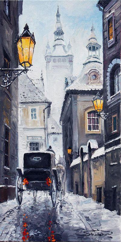 Prague Old Street 02 Art Print By Yuriy Shevchuk City Art Cityscape Painting Old Street