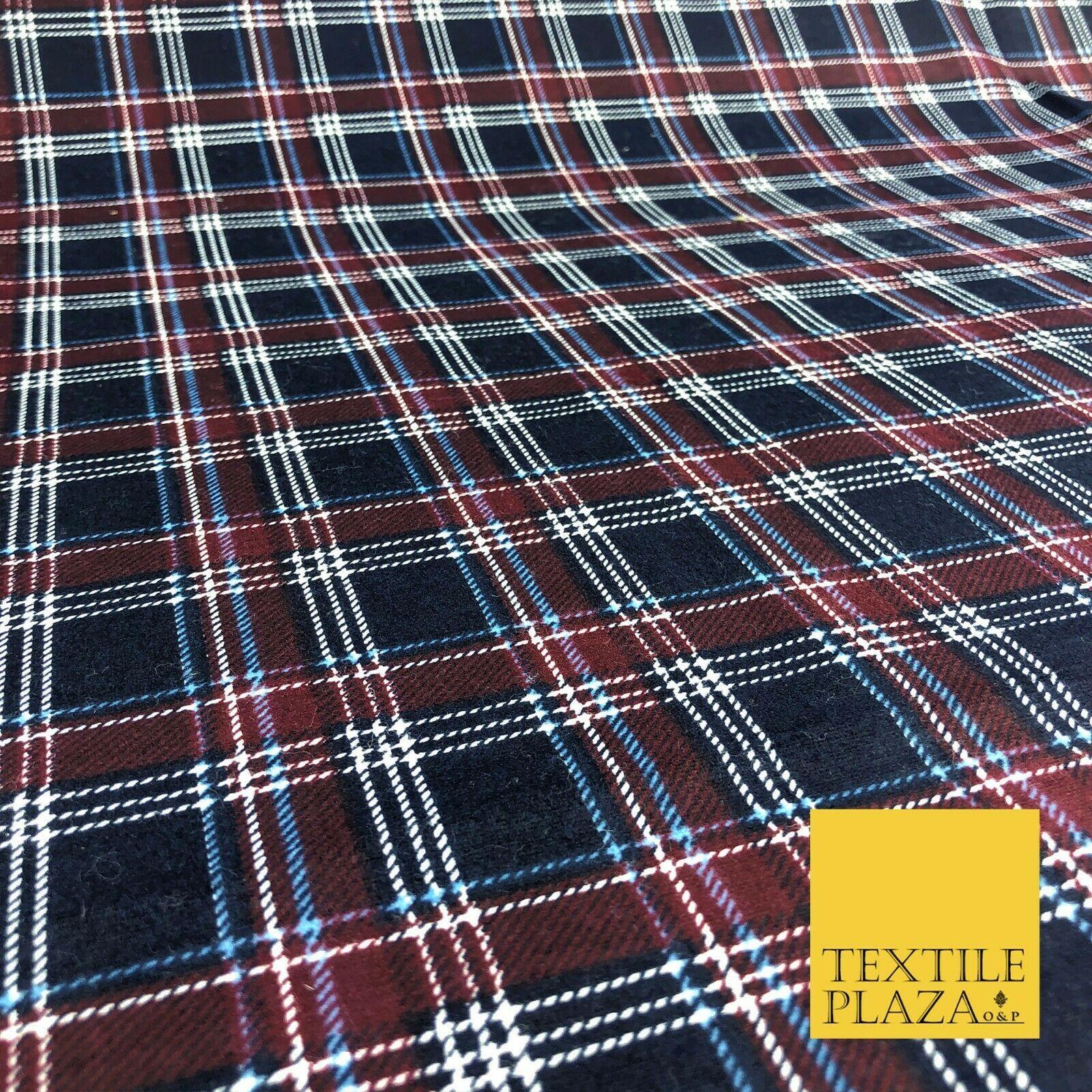 100/% Brushed Cotton Fabric Tartan CHECKS Wincyette Flannel Material Garments