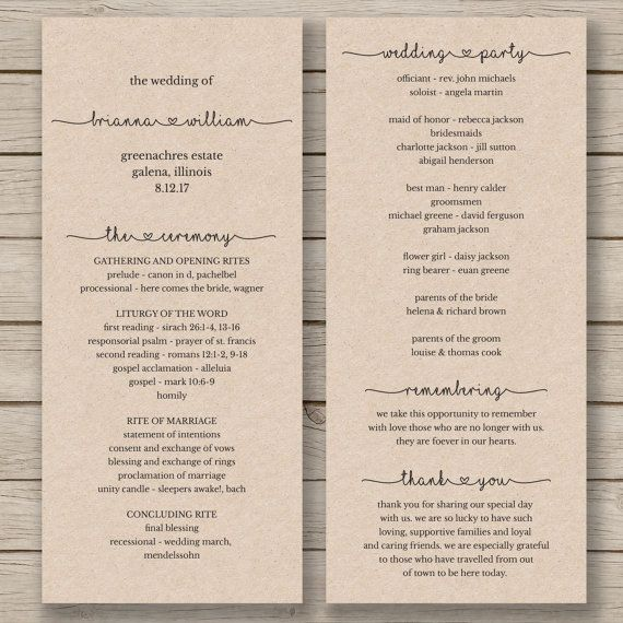 printable wedding program template order of service rustic