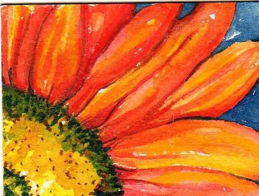 Orange Gerbera Daisy Painting Aceo Watercolor By Sharonfosterart