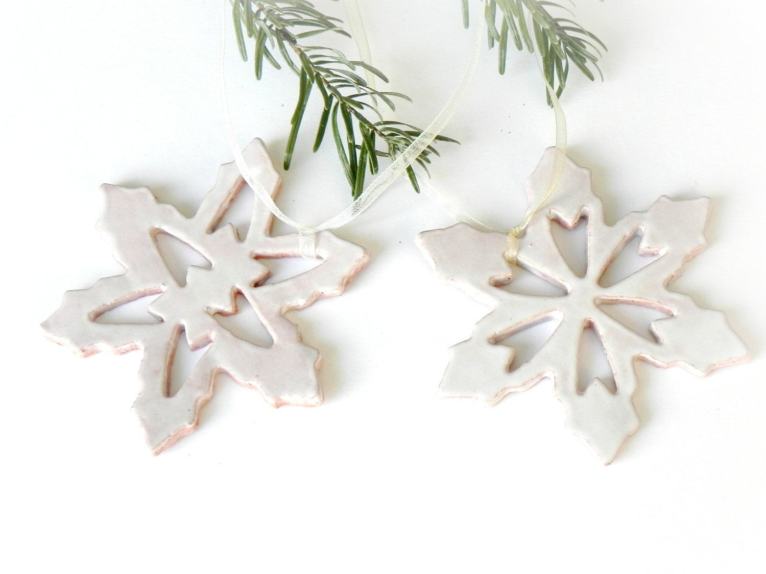 Snowflake Pottery Rustic Decoration White Eco Friendly Ceramic Ornament Set of 2 Wedding Gift, via Etsy.