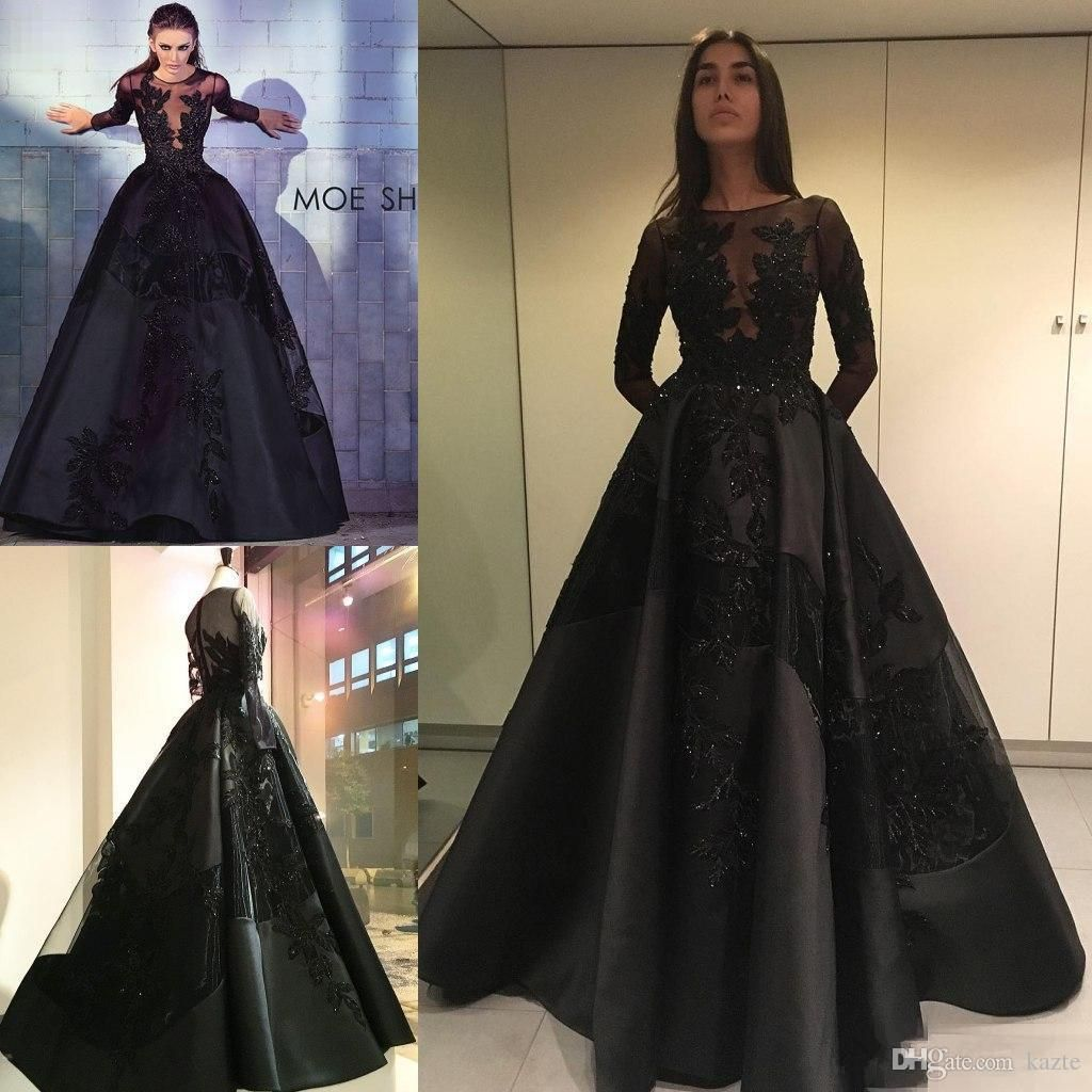 2018 Long Sleeve Black Prom Dresses Lace Applique Beads Plus Size ...