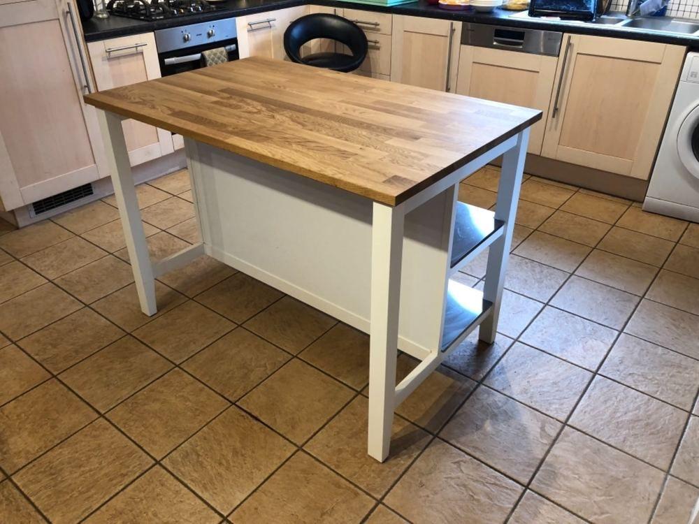 ikea stenstorp kitchen island in oak and white | stenstorp
