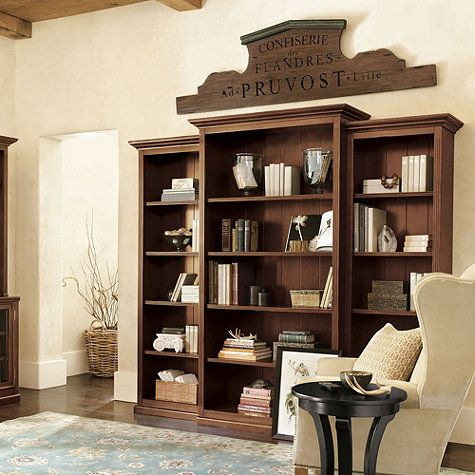 Tuscan Collection Large Set Of 3 Bookcases In Brown From Ballard Designs
