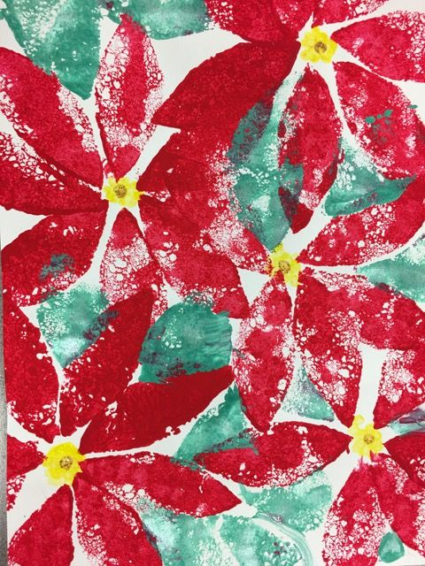 My 4th grader\u0027s Poinsettia print using tempera paint and cut sponges