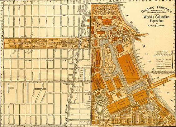 Fair plan with city street map Columbian Exposition ... Map Of The World S Fair on world cotton centennial map, ny world fair pavilion map, world fair site map, seattle center map,
