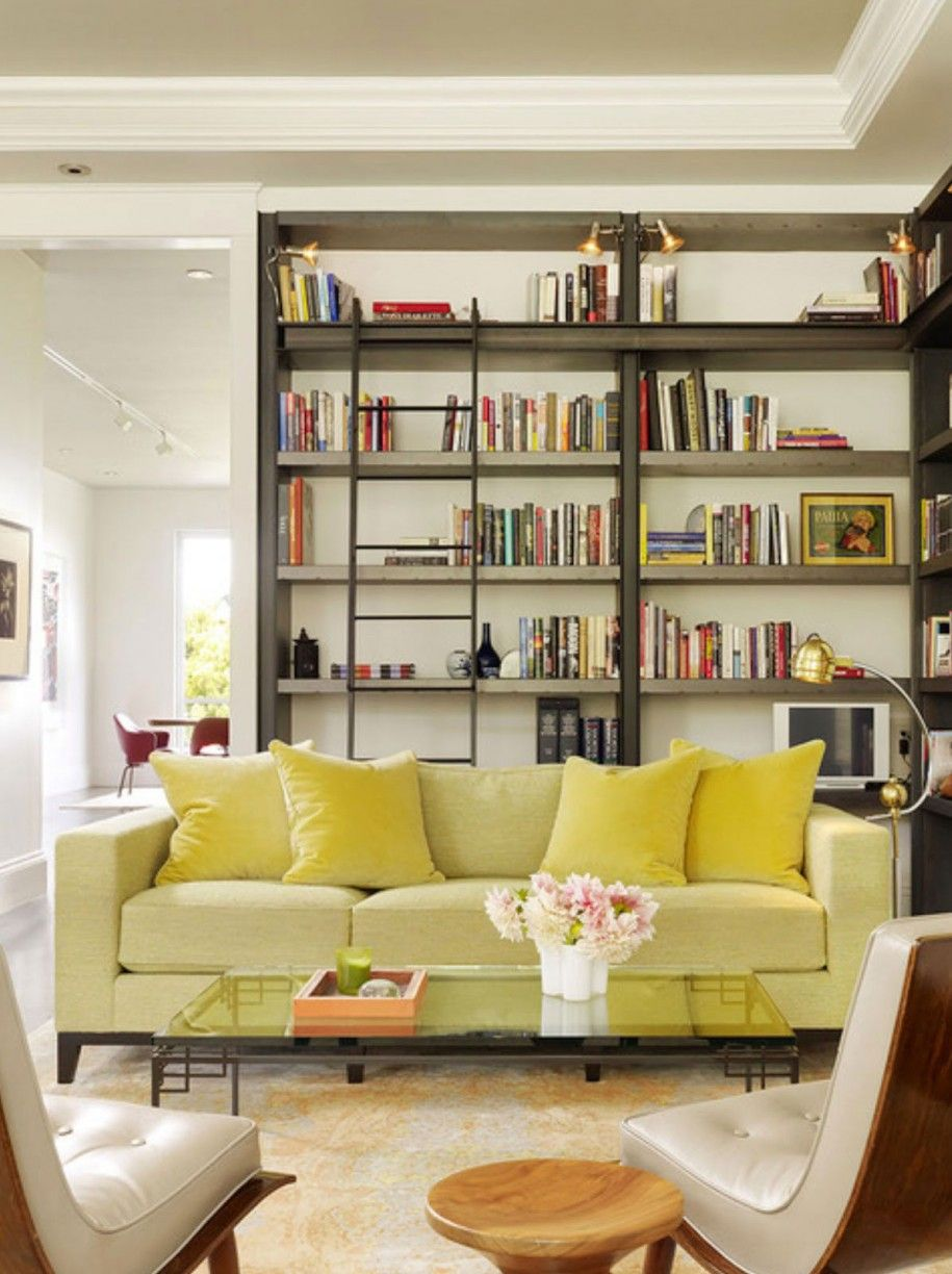 Chic Home Library Design Ideas With Black Color L Shape Wooden Bookshelves Also Combine Metal