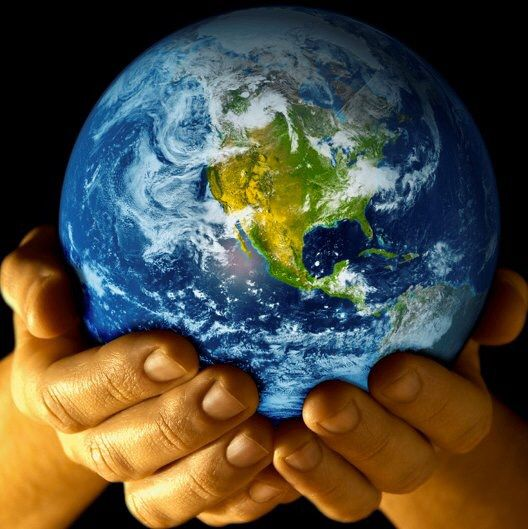 hands holding earth in hands with images  mother earth