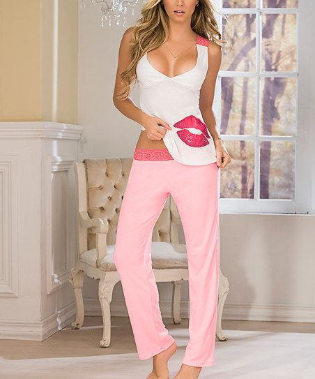 Mapalé by Espiral Pink & White Lips Lace-Accent Pajama Set | zulily