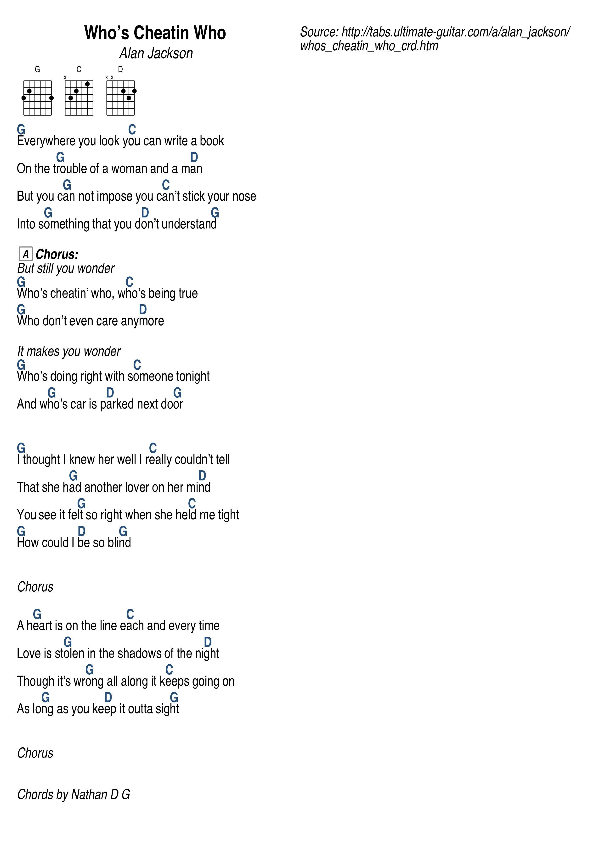 Who S Cheatin Who By Alan Jackson Alan Jackson Lyrics Guitar