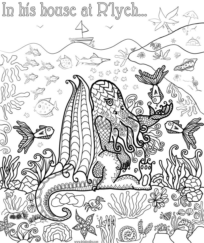 Cthulhu Colouring Page by WelshPixie on DeviantArt | Coloring pages ...