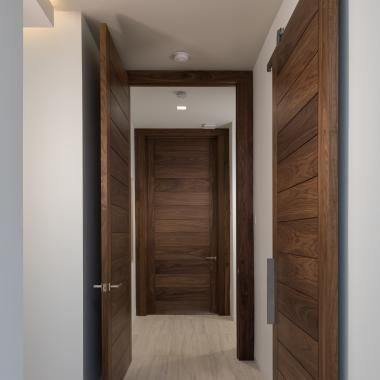 Oversized Tm13000 Doors Make Dramatic Entrances To Each Bedroom They Are Matched By A Tm13000 Barn Doo Custom Interior Doors Doors Interior Contemporary Doors