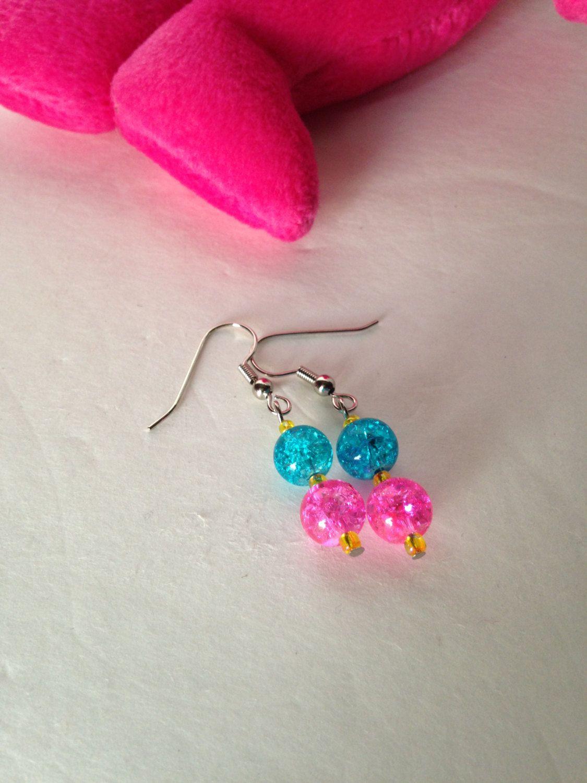 Blue beaded dangle earrings, pink dangle earrings, blue and pink ...