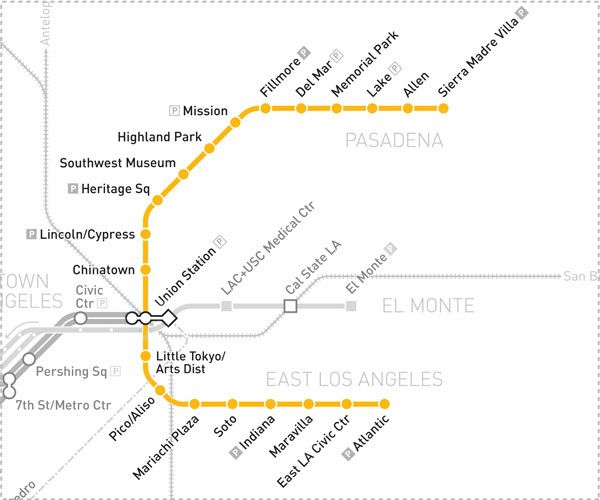 Gold Line Map Los Angeles Day Trips Gold Line Pasadena