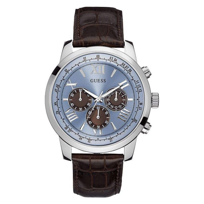 Guess Watch Men  Chronograph  Silver  Blue Brown Dial  Leather Band U0380G6 54f2b4a70b