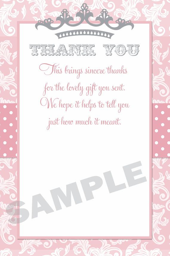 Princess Baby Shower Thank You Card, Princess Thank You Card, Little ...
