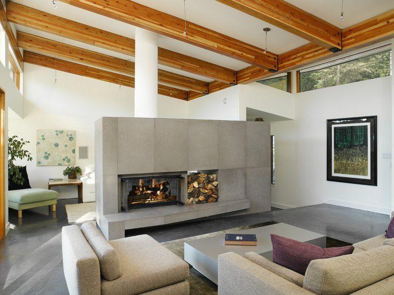 Tipps zum Wohnzimmer gestalten - Kaminverkleidung aus großen ...