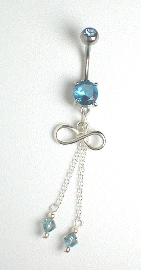 blue infinity dangle belly ring belly piercings