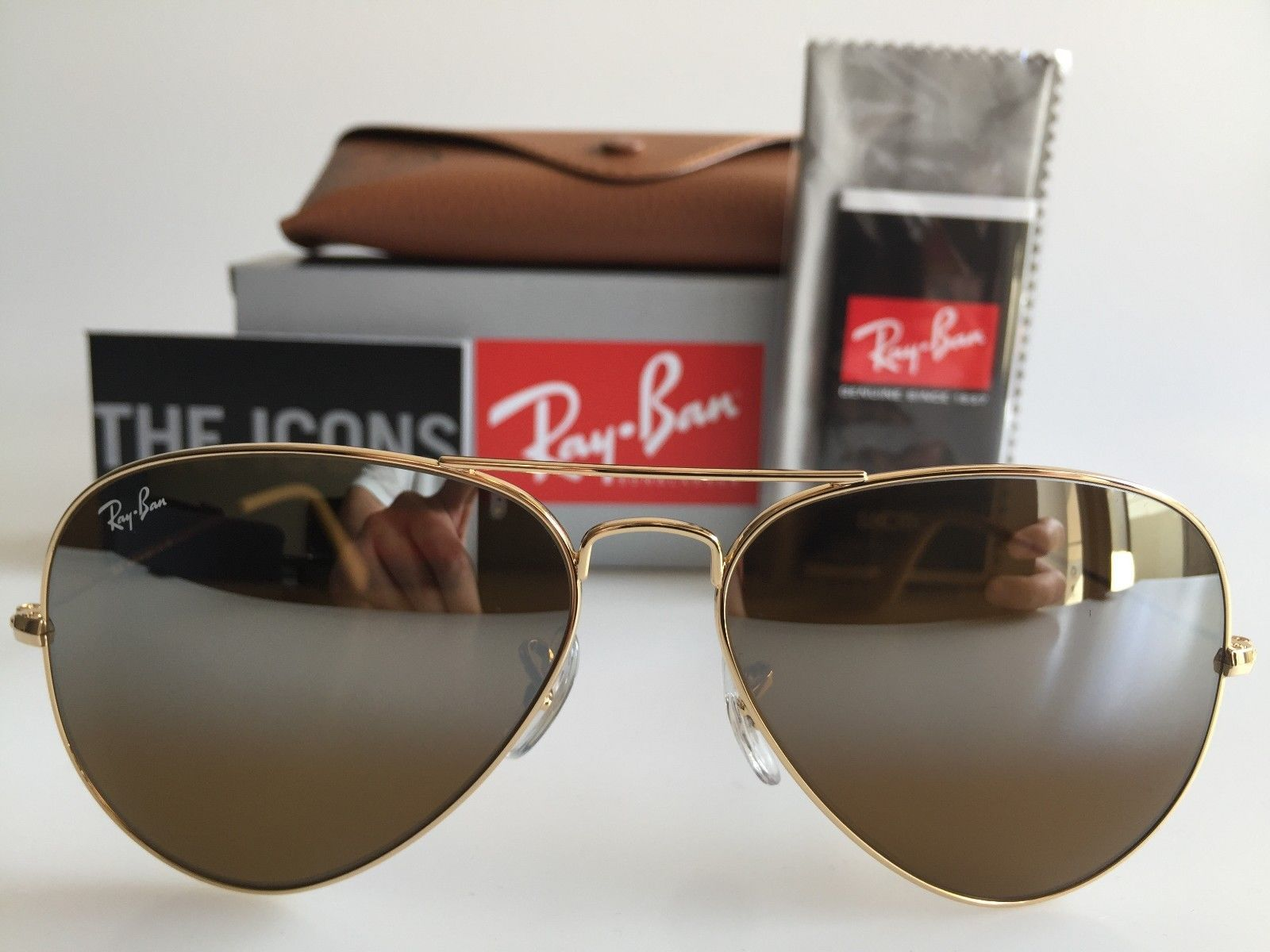 AUTHENTIC RAYBAN AVIATOR RB3025 001/3K 58MM BROWN GRADIENT MIRROR SUNGLASSES