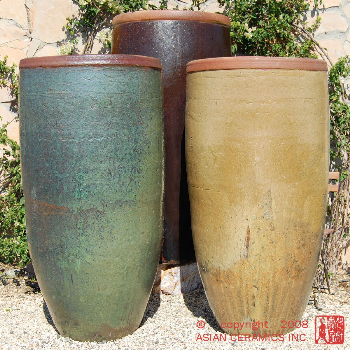 large blue pots in landscape Ceramic Glazed Pottery Rustic