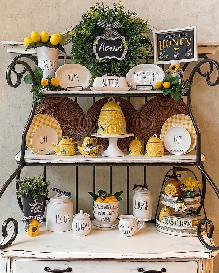 Katielaine Designs On Instagram My Late Spring Early Summer 2019 Kitchen Decor Mix Of Bees Lemons Ra Spring Kitchen Decor Honey Bee Decor Lemon Kitchen Decor