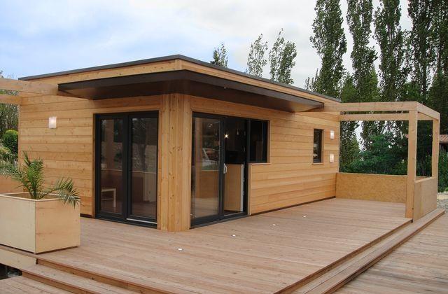 Résidence secondaire en ossature bois du0027architecture bioclimatique à - toiture terrasse bois accessible