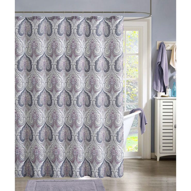 Beryl Mauve Gray Shower Curtain With Images Gray Shower