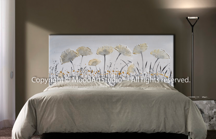 Cabecero de cama dormitorio minimalista en plata y oro for Cama minimalista