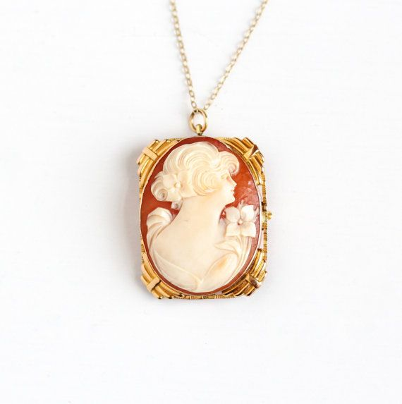 Antique 10k yellow gold carved shell cameo pendant necklace 1920s antique 10k yellow gold carved shell cameo pendant necklace 1920s floral fine brooch pin statement woman silhouette floral jewelry aloadofball Choice Image