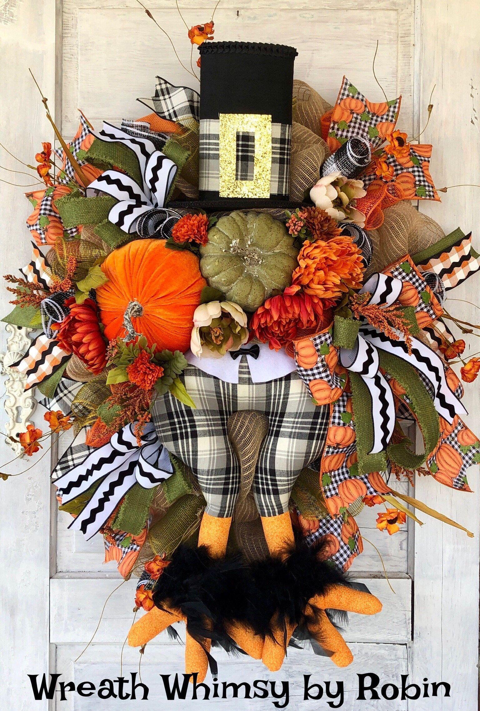 Thanksgiving Floral Turkey Wreath