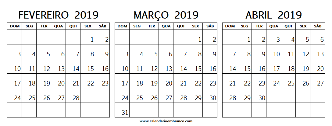Calendario 2019 Mes A Mes.Calendario 2019 Mes De Fevereiro Marco E Abril February 2019