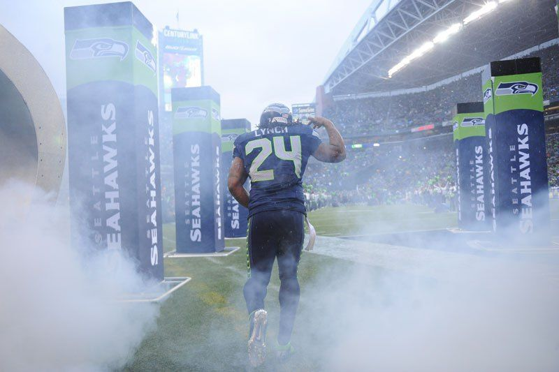 Marshawn Lynch exits the tunnel against the Saints (by Rod Mar)
