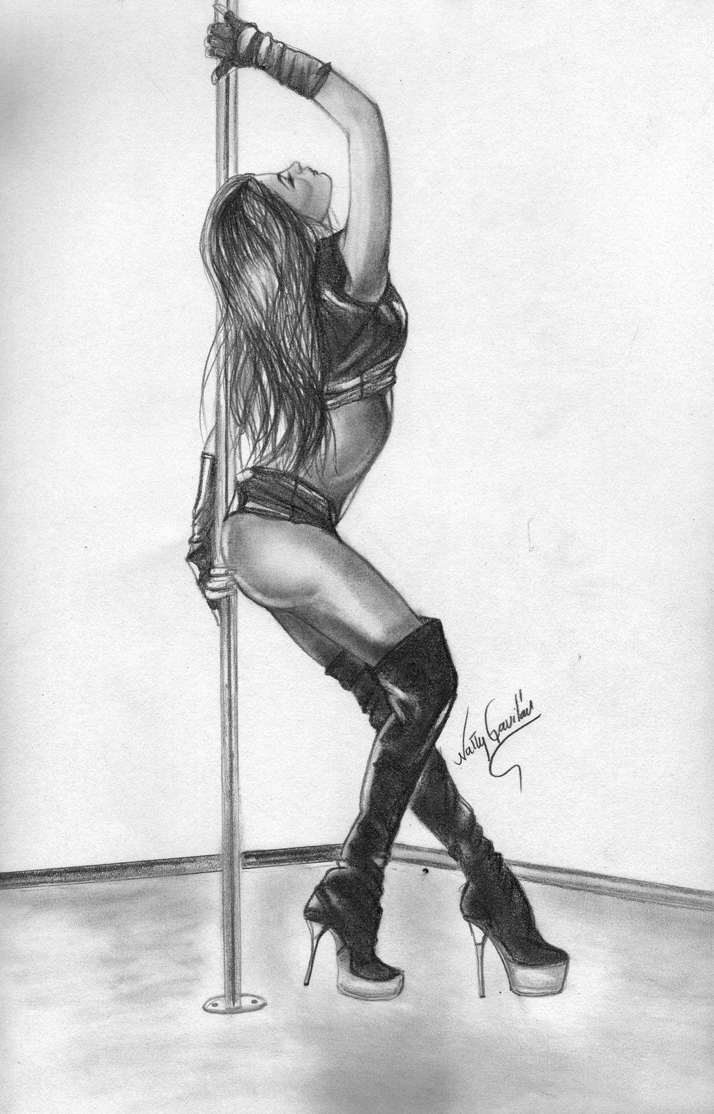 Pole dance cartoons pencil drawing