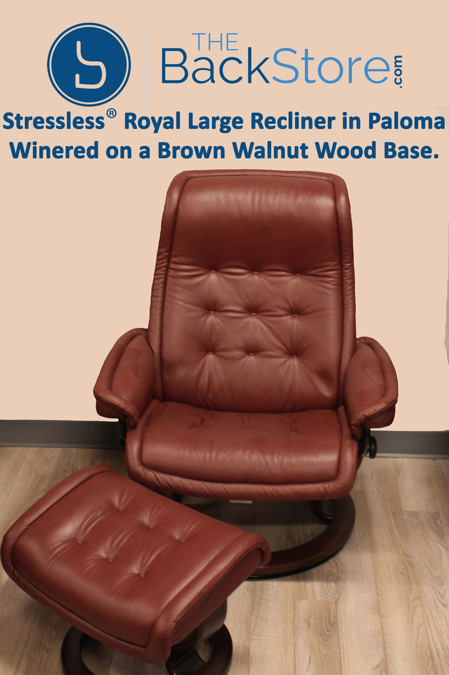 Stressless Royal Large Recliner in Paloma Winered Leather on a Brown Walnut Wood Base. Find & Stressless Royal Large Recliner in Paloma Winered Leather on a Brown ...