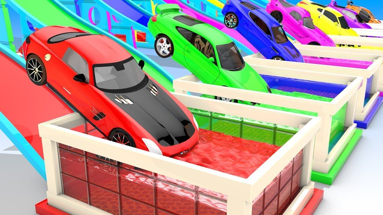 Colors For Children To Learn With Toy Super Cars With Color Water Slider.