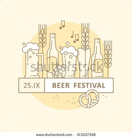 Beer festival, beer party, beer menu Illustration for banners