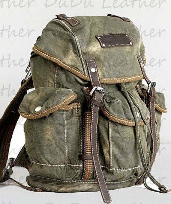 Backpack Genuine Cow Leather Bag Canvas Bag Canvas Por Duduleather