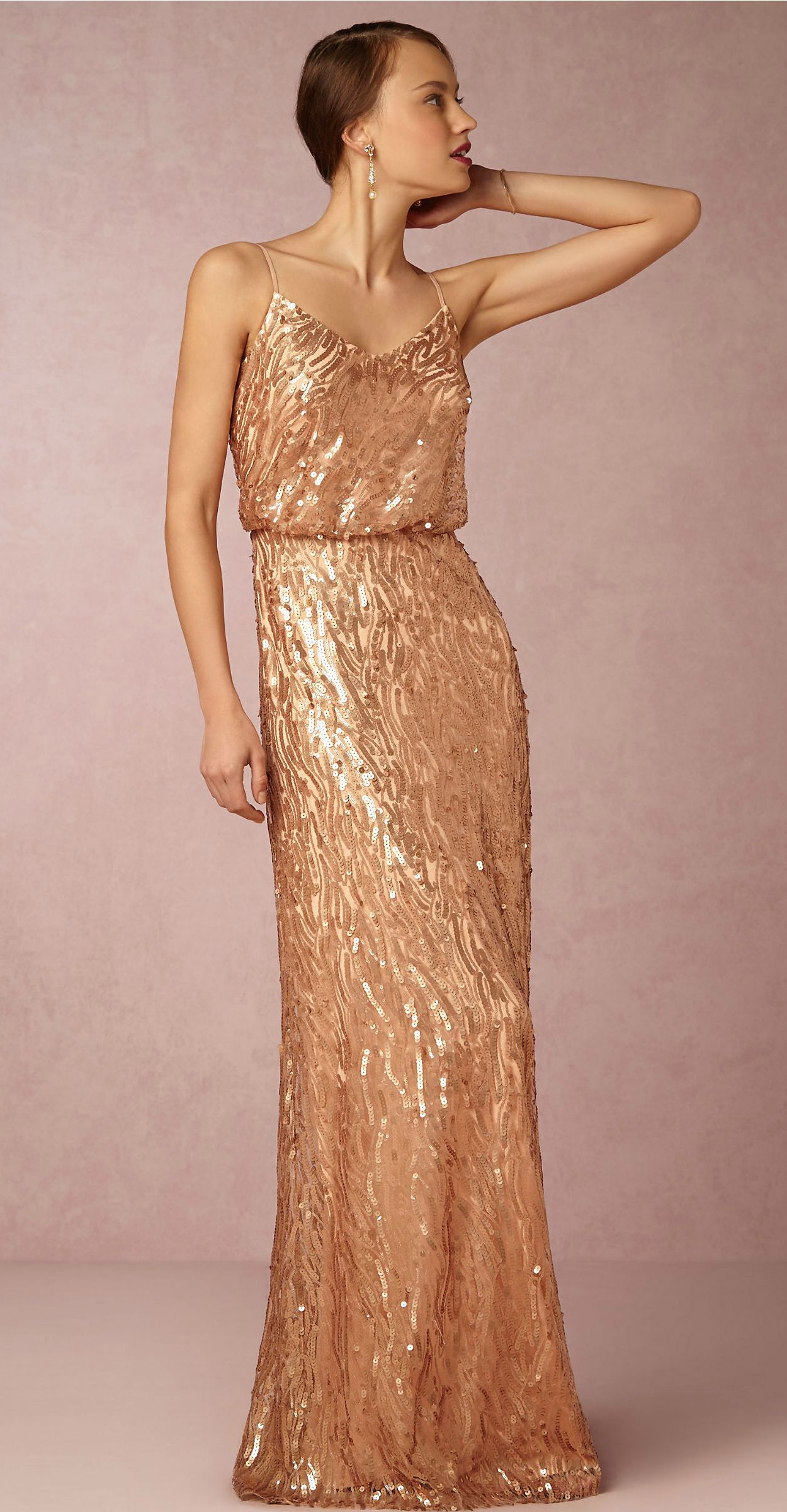25bbb9d04c9 Sequined bridesmaid dress in Rose Gold from BHLDN  Courtney  Dress