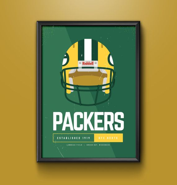 Green Bay Packers Nfl Inspired Minimalist Poster Print Digital File Minimalist Poster Nfl Packers Poster Prints