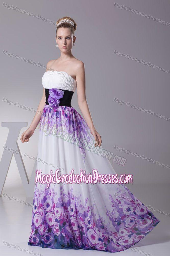Printing Colorful Chiffon Long Middle School Graduation Dress Online