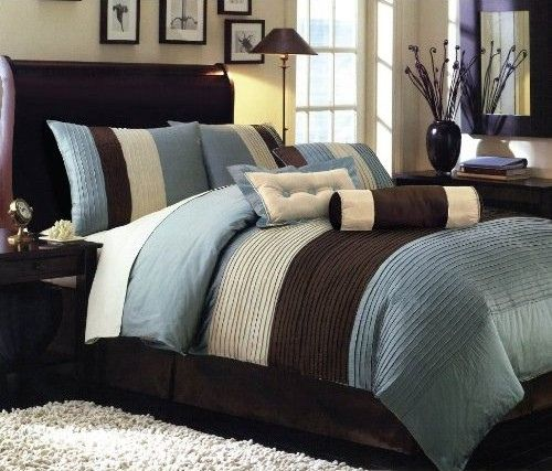 Victorian Collections Chocolate Brown Blue Bed In A Bag Home Bedroom Home Comforter Sets