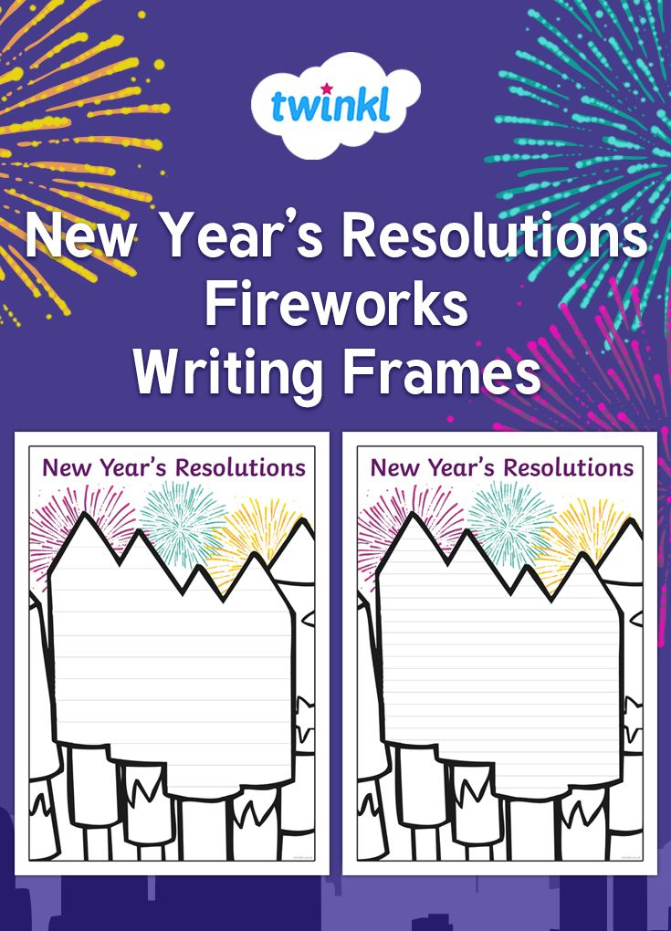 Download this set of firework themed writing frames to