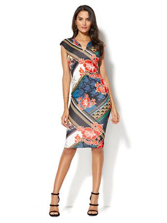 d03988d504a2d9 Shop Sleeveless Sheath Dress - Mixed Print.
