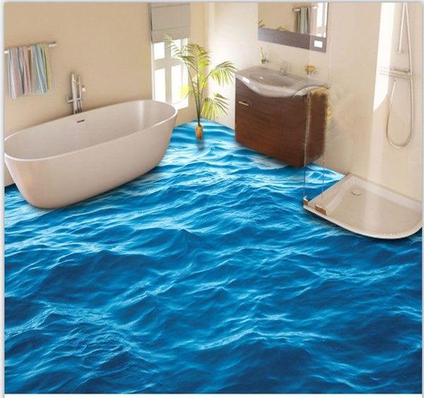 3d Peaceful Blue Sea Water Floor Mural Photo Flooring Wallpaper Print Home Decal For Bathroom Kitchen Living Room Wish Floor Murals Floor Wallpaper Flooring