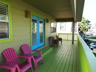 Cute condo rental on Swordfish St, South Padre Island.  COSTA BELLA Unit A - upstairs.  Downstairs has small yard.