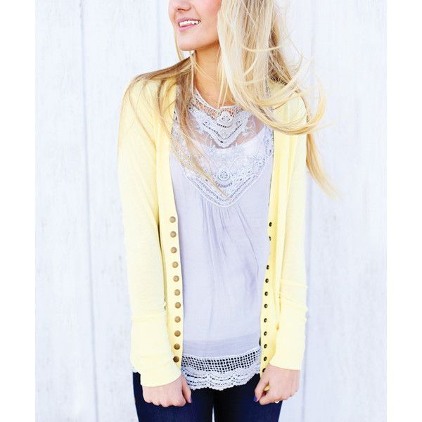 So Perla Light Yellow Snap Cardigan ($17) ❤ liked on Polyvore ...
