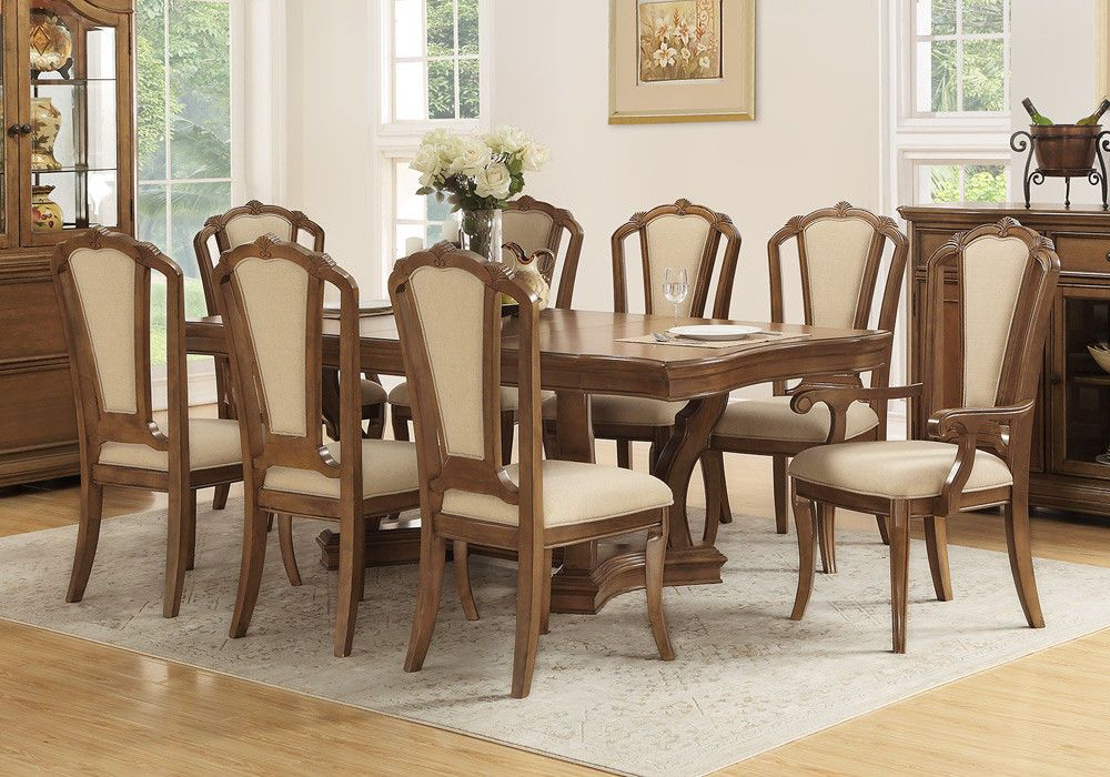 Formal 9 pcs Dining Set Table Leaf Chairs Fabric Upholstered Seat ...