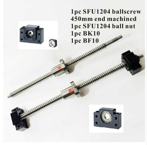 SFU1204 Ball Screw L450mm Ballscrew With SFU1204 Single Ballnut For CNC